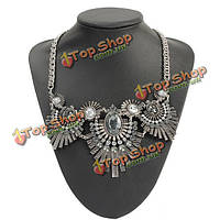 Винтажные панк древние серебряные перья кристалл кулон ожерелье коренастый
