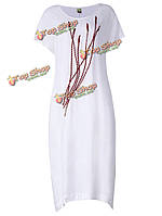 Сыпучих женщин чистый цвет вышивки o шеи короткое платье рукав
