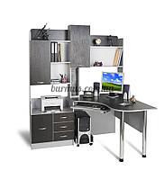 Компьютерный стол  с архиватором, угловой Ск-10, алюминий+ венге- магия