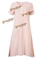 Женское повседневное короткий рукав широкое вышитые литературных винтажное платье