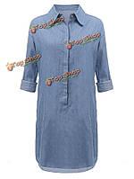 Женское платье короткое повседневное широкое карман джинсовой синий длинный рукав