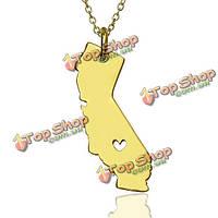 Калифорния Соединенные Штаты Америки карта ожерелье сердца влюбленности 925 Посеребренная цепь