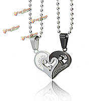 Пара слово сердца кристаллическое ожерелье серебряная цепь кулон любовное письмо