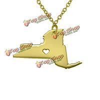 США Нью-Йорк карты любовь сердца кулон серебряное ожерелье