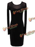 Женское тонкая стильная перспектива с длинными рукавами черное платье