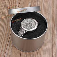 Серебряный круглый олова ювелирные изделия часы хранение коробка подарка случай окно губка