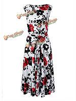 Женское круглый воротник без рукавов цветочные ретро классическое платье