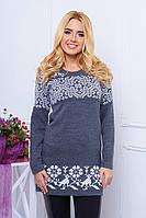 Вязаная женская туника-платье Леся маренго 44-48 размеры