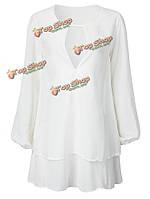 Повседневное тонкий белый слой длинный рукав V ворот мини платье Женское