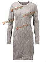 Тонкий толстый жаккард вязать серый длинный рукав Сплите Женское платье до колен