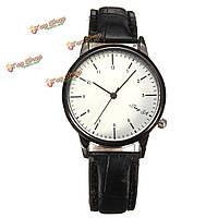 Повседневная аналоговые кварцевые лаконичный бизнес-стиль PU кожаный ремешок наручные часы