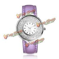 Моды случайные кристалл плывуне пу кожаный ремешок кварцевые женские часы