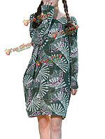 Народная стиль женщины с длинным рукавом павлин шаблон печатной хлопок белье платье