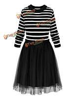 Элегантных Женское полосатый сетка лоскутное трикотажные красивое-линии платье