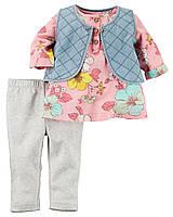 Комплект одежды Carters для девочки с жилеткой 3 в 1