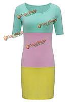 Тонкий цвет блока оболочки мини-пляж платье для женщин