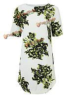 Платье тонкие цветочные Женское-футляр платье короткое с коротким рукавом