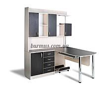 Угловой стол со шкафом- пеналом для документации,  Ск-15, венге- магия+ дуб молочный