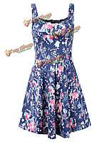 Сексуальное женское без рукавов цветочный вечеринку-линии мини-сарафана