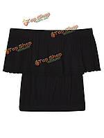 Сексуальные оборки плеча вязания крючком урожая верхней блузки для женщин
