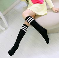 Гольфы - чулки для девочки черные с белыми полосками
