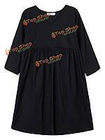 Женское на каждый день V ворот половина рукав в складку твердое платье Онлайн