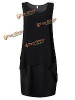 Элегантных женщин чистый цвет поддельные из двух частей шифоновое мини-платье