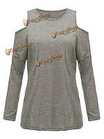 Женщины с плеча твердых сексуально случайных экипажа шею футболку