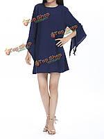 Чистый цвет o шея рога рукава свободные шифон линии мини платья для женщин