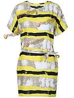 Случайные свободные женщины полосой печати с коротким рукавом платье с поясом
