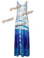 Женское градиент цветной печати без рукавов платье макси