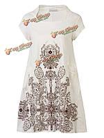 Женское на каждый день печати цветочные короткие широкое винтажное платье