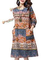 Женское на каждый день сбора винограда свободная печать с длинным рукавом платье из хлопок