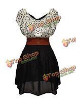 Женщины горошек шифоновое платье листьев лотоса рукава сексуальное платье с поясом