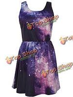 Лето элегантный светло-фиолетовый ночь небо образец узкий талией платье без рукавов