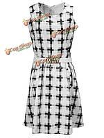 BG-impression® старинных клетчатый печати платье