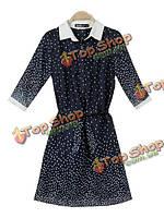 Zanzea шифон половина рукава в горошек с небольшим отворотом платье