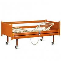 Кровать деревянная с электромотором на колесах, с перилами, металлический каркас (4секции)
