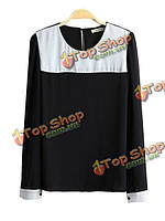 Женщин черный белый цвет Block o-образным вырезом с длинным рукавом шифон блузка