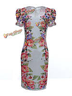 Женское сексуальная Slim Fit с коротким рукавом цветочный коктейльное вечернее платье