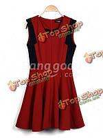 Zanzea женщина без рукавов высокой талии v-образным вырезом бак вино красное платье