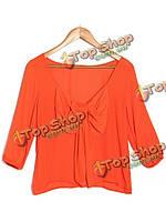 Европейский стиль 3/4 рукав блузки из шифона с открытой спиной выкройка топы
