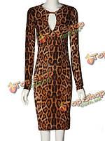 Женское Leopard женственное пакет бедра длинными рукавами платье