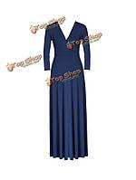 Трикотажной ткани сексуальная мода платье партии чистый цвет платья женщина долго