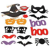 14шт DIY Хэллоуина тыквы губы Photo Booth реквизит маска усы поставок свадьбы партии