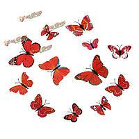 12шт 3-и этикетки красные стенные переводные картинки бабочки домашнее художественное оформление свадебной вечеринки