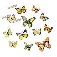 12шт 3-и этикетки желтые стенные переводные картинки бабочки домашнее художественное оформление свадебной вечеринки
