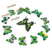 12шт 3-и этикетки зеленые стенные переводные картинки бабочки домашнее художественное оформление свадебной вечеринки