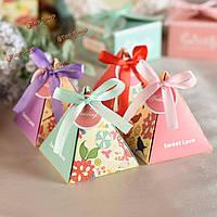 1шт свадебное фестиваль коробка конфет европейский стиль треугольник типографском лента партия поставщиком