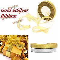 50мм 25 ярдов проволоки Edge золотой серебро эффект блестки подарок ленты свадьба упаковка аксессуары